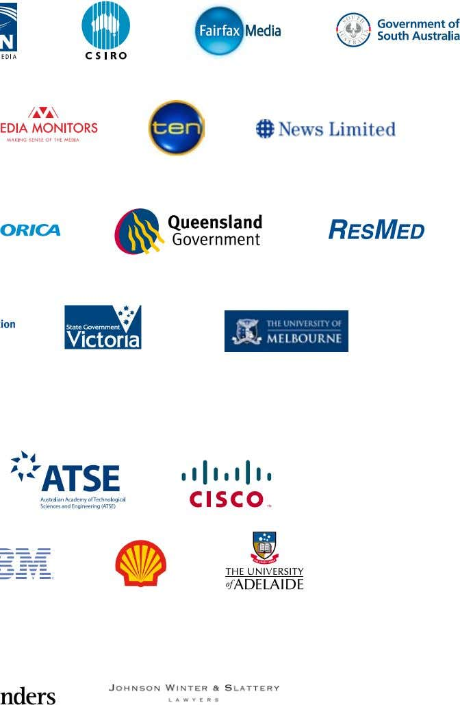 following supporters during 2010-2011: Foundation Sponsors Gold Sponsors Supporters 22 Australian Science Media Centre