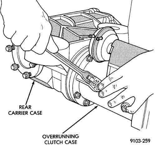clutch case from differen- tial carrier case (Fig. 25). Fig. 24 Overrunning Clutch Case To Rear