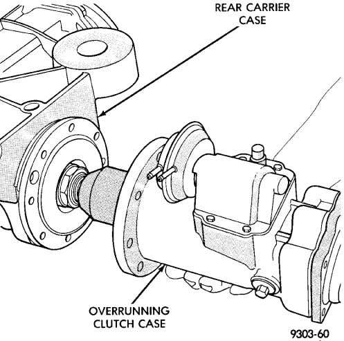 from differen- tial carrier case (Fig. 25). Fig. 24 Overrunning Clutch Case To Rear Carrier Bolts