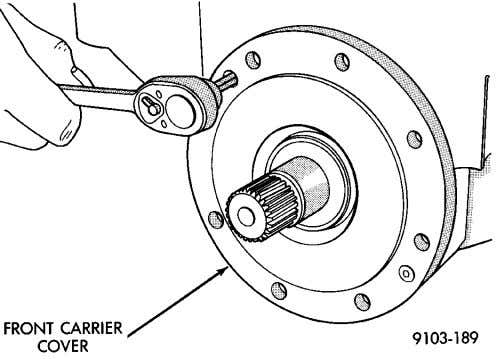 tighten to 12 N·m (105 in. lbs.). Fig. 28 Remove Pinion Nut Fig. 29 Front Carrier