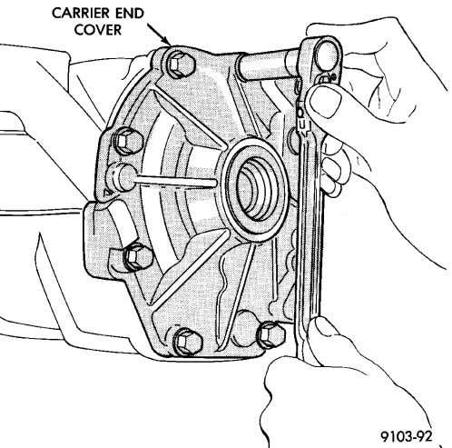 shaft. (4) Remove end cover retaining bolts (Fig. 39). Fig. 39 Remove End Cover Bolts (5)