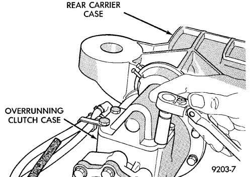 overrunning clutch cover assembly mounting bolts (Fig. 44). Fig. 44 Mounting Bolts (3) Lift overrunning clutch