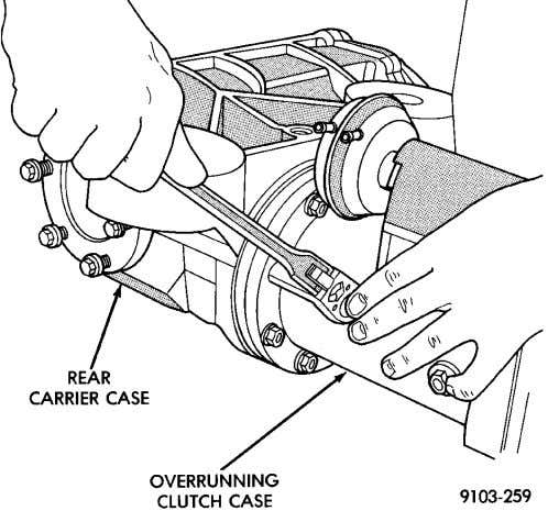 overrunning clutch case to rear carrier bolts (Fig. 45). Fig. 45 Overrunning Clutch Case To Rear