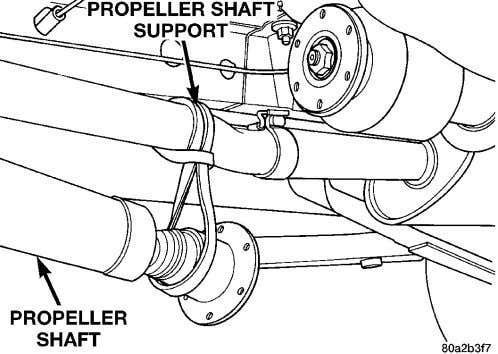 not let the propeller shaft hang freely, damage may occur. Fig. 48 Support Propeller Shaft (6)