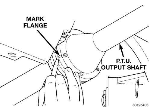 Mark orientation of propeller shaft front flange (Fig. 53). Fig. 53 Mark Propeller Shaft Front Flange