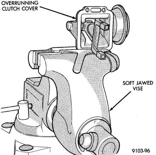 case. (5) Clamp assembly in soft jawed vise (Fig. 57). Fig. 57 Clamp Housing In Vise