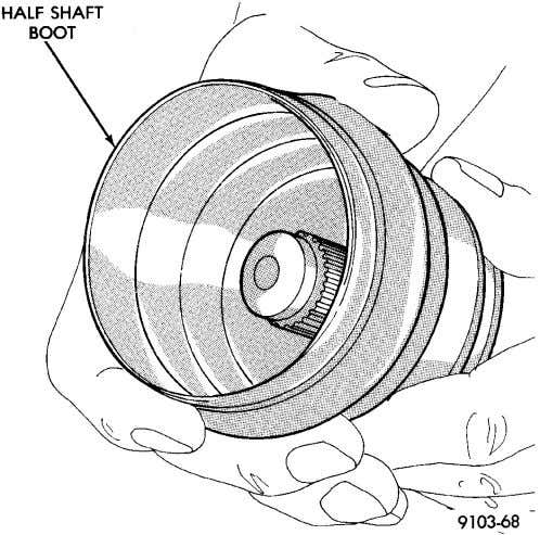 AND DRIVELINE NS/GS DISASSEMBLY AND ASSEMBLY (Continued) Fig. 89 Remove Boot Fig. 90 Remove Torque Shaft