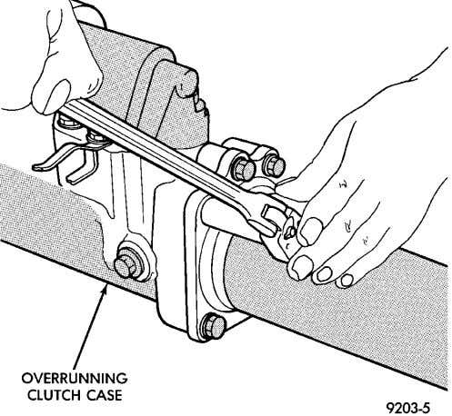 service this bearing. Fig. 95 Remove Overrunning Clutch Race Fig. 96 Torque Tube Bolts Fig. 97