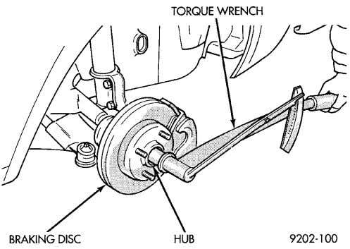 (19) Set front toe on vehicle to required specifica- tion. Fig. 24 Torquing Front Hub Nut