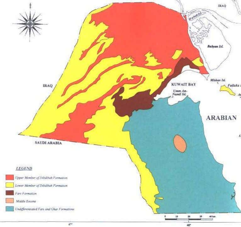 Public Authority The Environmental Strategy of the State of Kuwait, 2002 Fig. 1-4 Geological map of