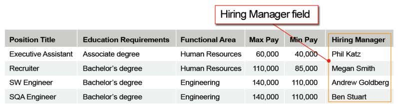 manager in a fi eld called Hiring Manager, like this: Figure 6: Position Information with Hiring