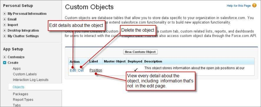 Chapter 5: Building a Simple App Figure 16: Custom Object List Page: Edit, Delete, and Detail