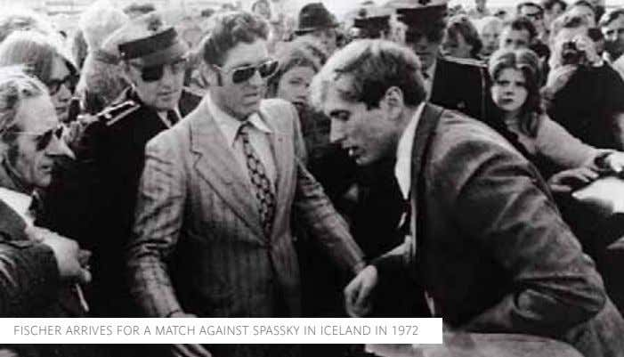 FISCHER ARRIVES FOR A MATCH AGAINST SPASSKY IN ICELAND IN 1972