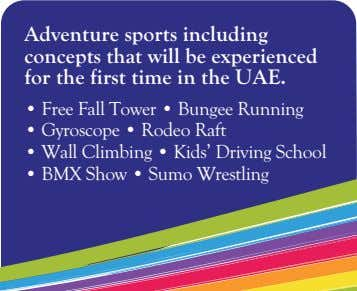 Adventure sports including concepts that will be experienced for the first time in the UAE.