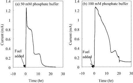 shear force disturbing microbes immobilized onto the anode. Fig. 7. Current patterns with different concentration of