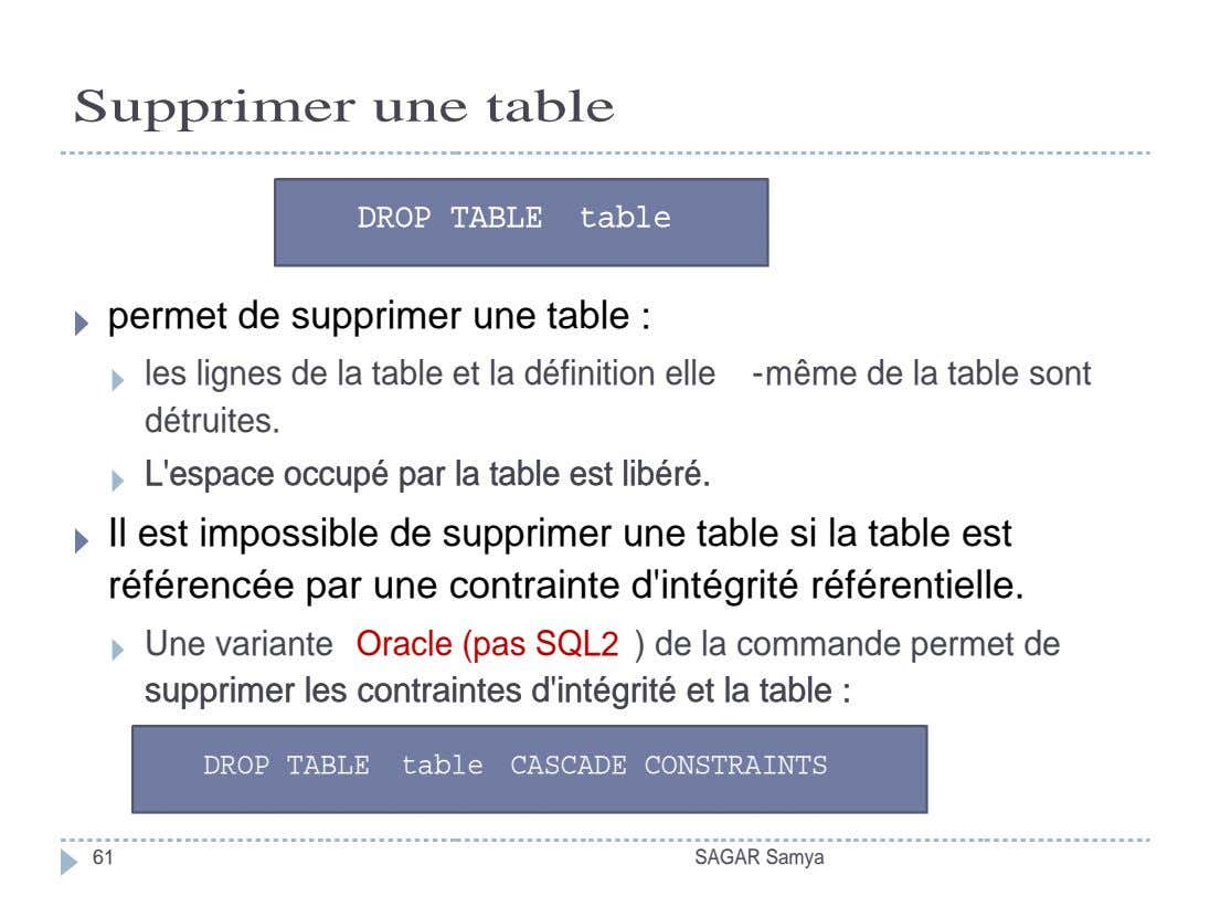 Supprimer une table DROP TABLE table DROP TABLE table permet de supprimer une table :