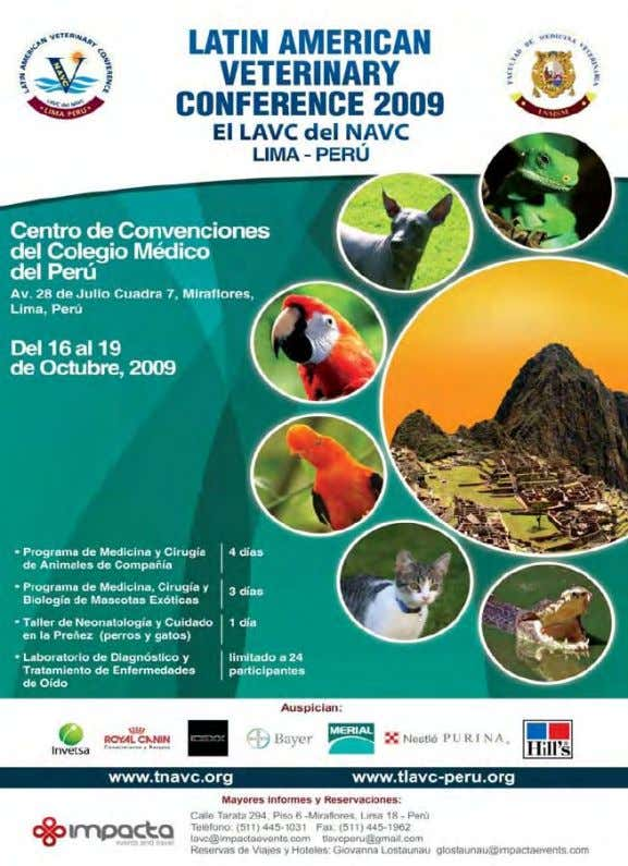 Veterinary Conference Oct. 16-19, 2009 – Lima, Peru Reprinted in the IVIS website with the permission