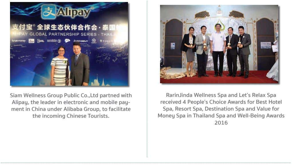 Siam Wellness Group Public Co.,Ltd partned with Alipay, the leader in electronic and mobile pay- ment