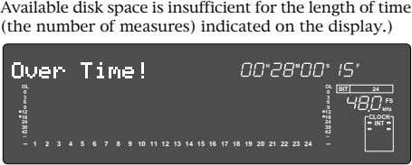 Available disk space is insufficient for the length of time (the number of measures) indicated