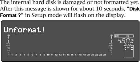 The internal hard disk is damaged or not formatted yet. After this message is shown