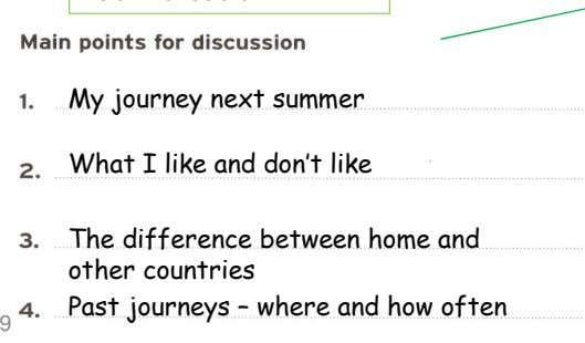 My journey next summer What I like and don't like The difference between home and