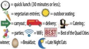 = quick lunch (30 minutes or less); =vegetarianentrées; =outdoorseating; =carryout; =delivery; =Catering; =parties;