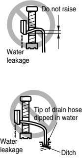 Do not raise Water leakage Tip of drain hose dipped in water Water leakage Ditch
