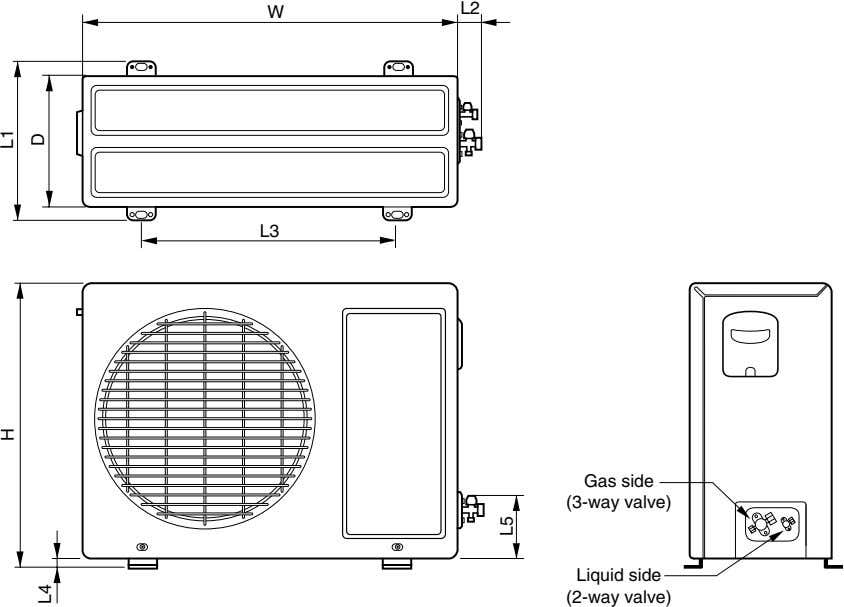 L2 W L3 Gas side (3-way valve) Liquid side (2-way valve) H L1 D L4