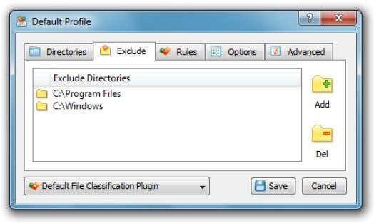 the directories that should be skipped to the exclude list. In order to add one or