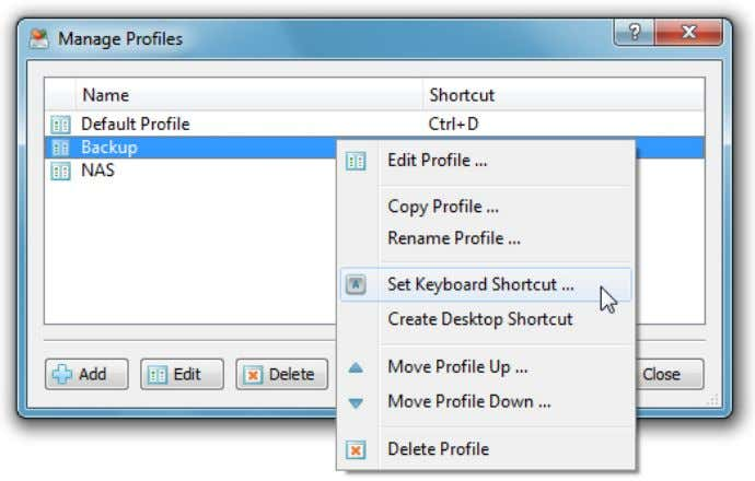 the 'Profiles' button located on the main toolbar. The profiles dialog shows all the defined user
