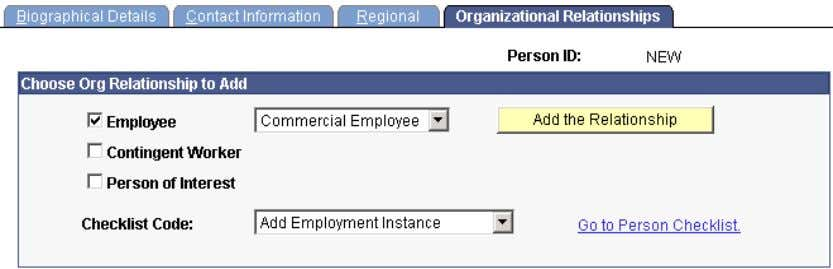 the system enters the Add Employment Instance checklist. Select the Checklist Code when you add an