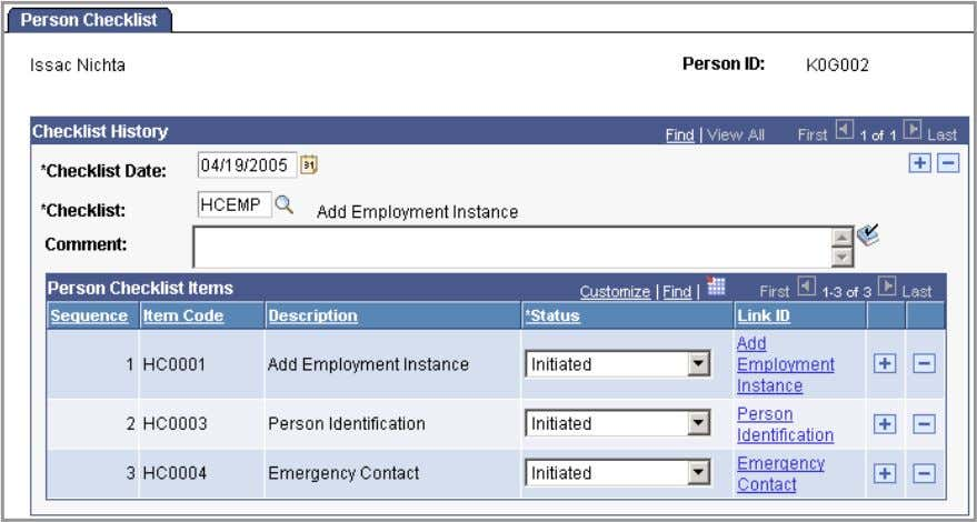 Information, Organizational Relationships, Person Checklist Person Checklist page For example, the Add Employment