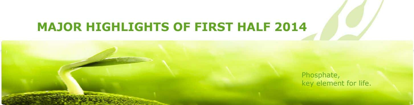 MAJOR HIGHLIGHTS OF FIRST HALF 2014 Phosphate, key element for life.