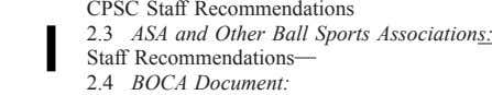 CPSC Staff Recommendations 2.3 ASA and Other Ball Sports Associations: Staff Recommendations 2.4 BOCA Document: