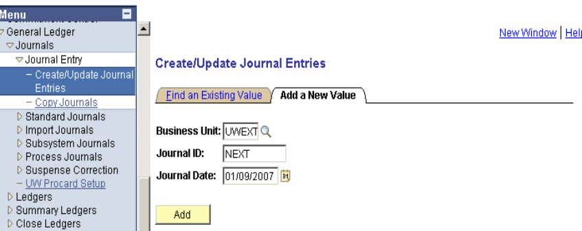 Entry>Create Journal Entries>Add Header Tab • Select the Ledger Group to which the journal