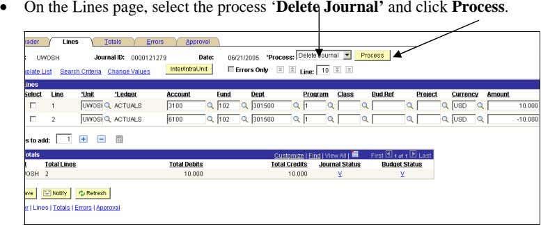 • On the Lines page, select the process 'Delete Journal' and click Process.