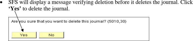 • SFS will display a message verifying deletion before it deletes the journal. Click 'Yes'