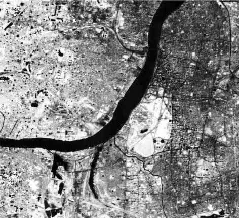 Figure 8. histogram equalization. SPOT image of Kolkata in the near infra red band with