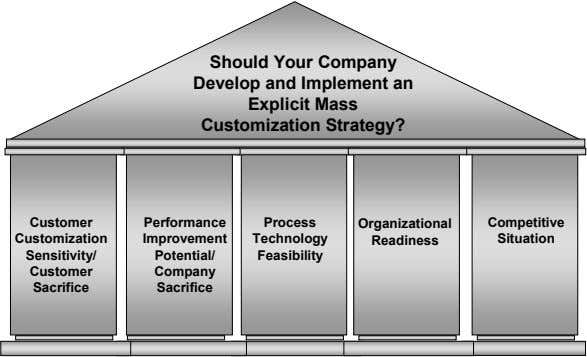 Should Your Company Develop and Implement an Explicit Mass Customization Strategy? Customer Performance Process