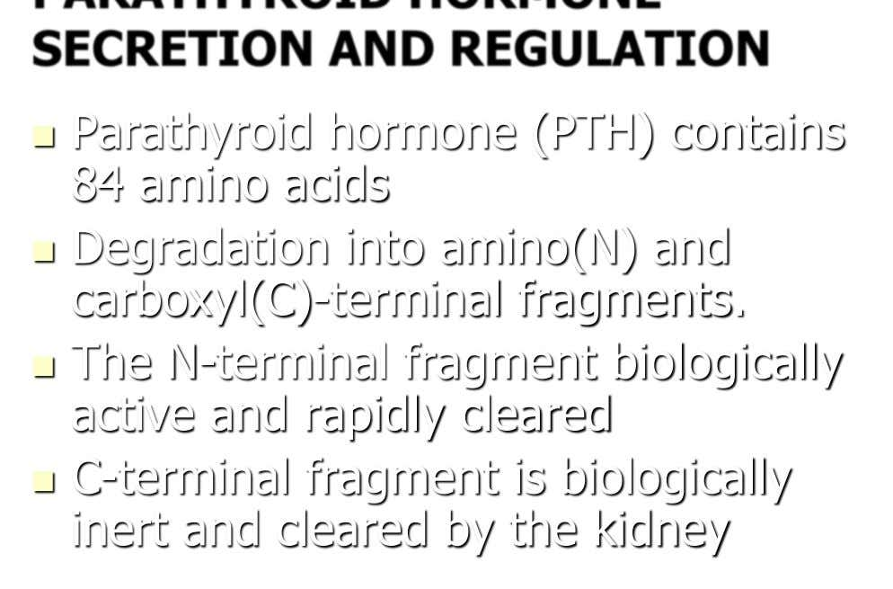  Parathyroid hormone (PTH) contains 84 amino acids  Degradation into amino(N) and carboxyl(C)-terminal fragments. 