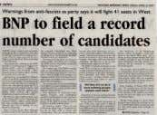 the standing of BNP local election candidates would cause increases in racist violence. Police Log N