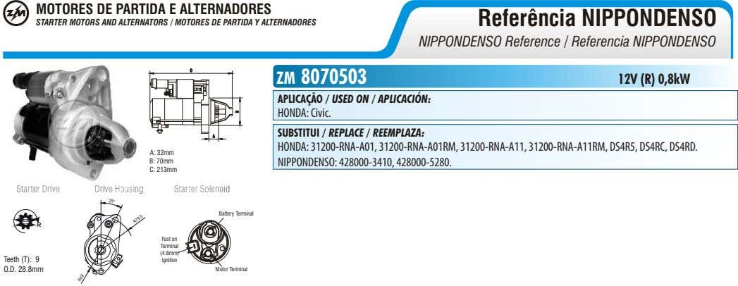 MOTORES DE PARTIDA E ALTERNADORES Referência NIPPONDENSO STARTER MOTORS AND ALTERNATORS / MOTORES DE PARTIDA