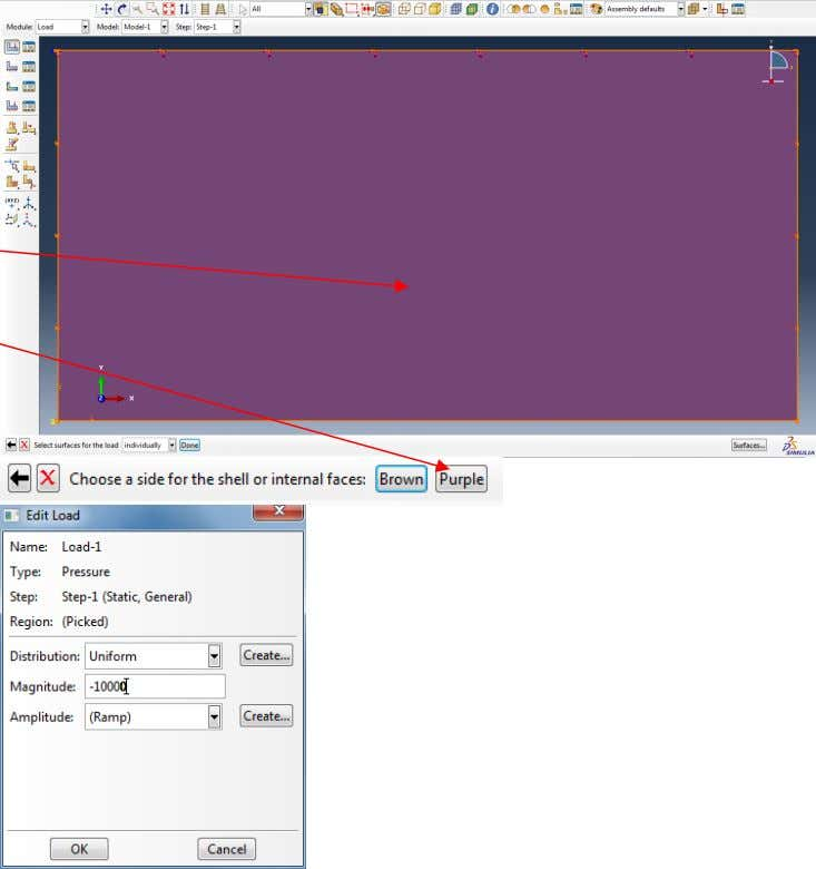 Click inside the rectangular domain and select the surface Purple to which pressure should be