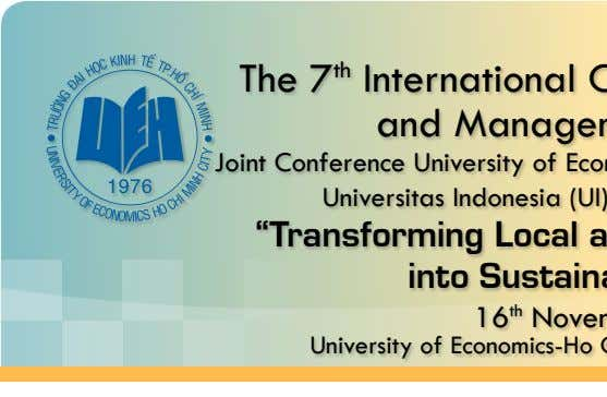 The 7 t h International Conference on Business and Management Research Joint Conference University of