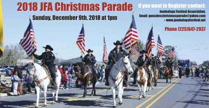2018 2018 JFA JFA Christmas Christmas Parade Parade If you want to Register contact: Sunday,