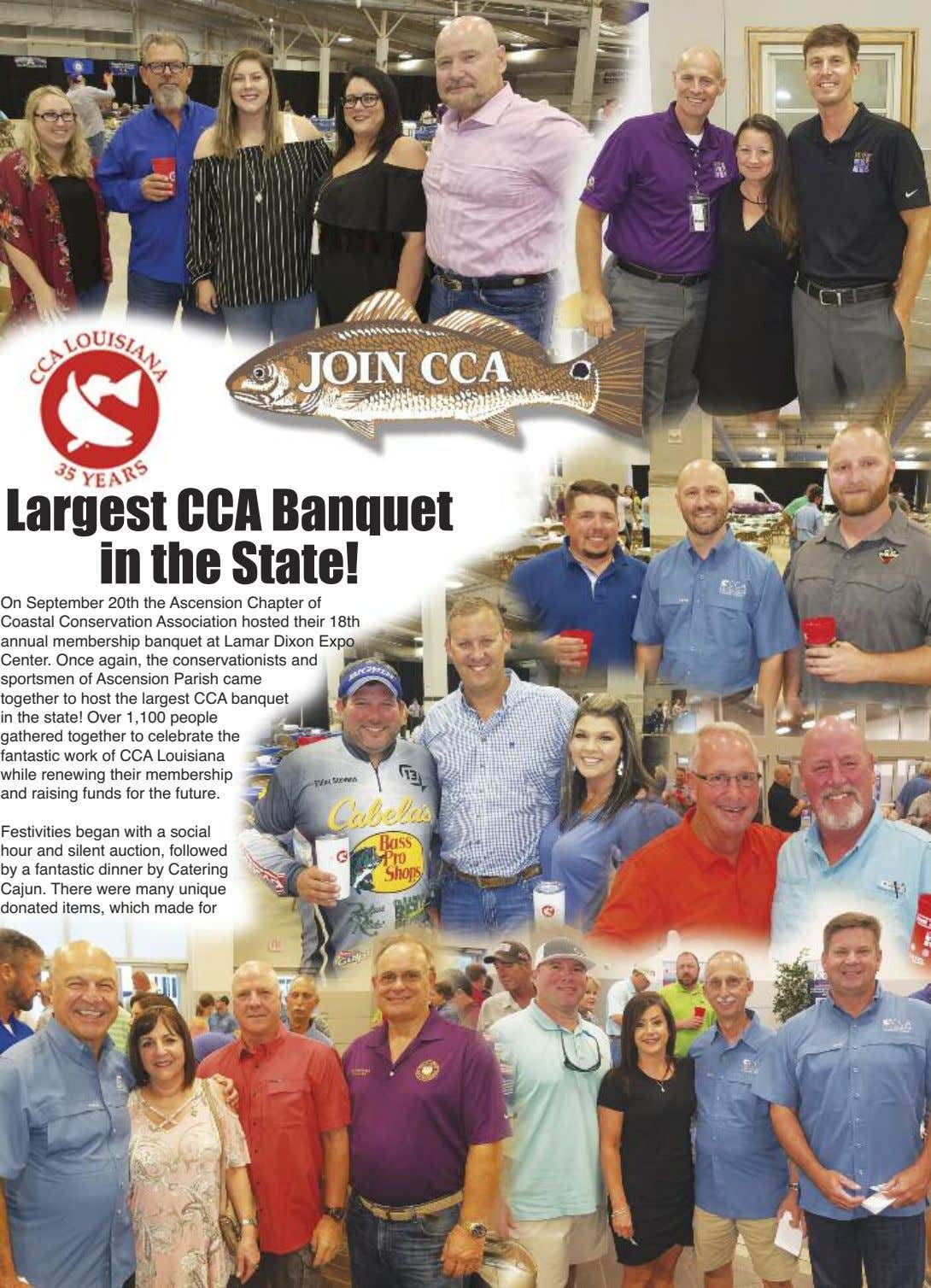 Largest CCA Banquet in the State! On September 20th the Ascension Chapter of Coastal Conservation