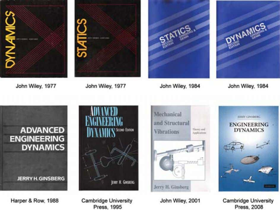 "FIG. 1. (Color online) Covers of textbooks written by J. H. Ginsberg. ""real-world"" vibration issues."