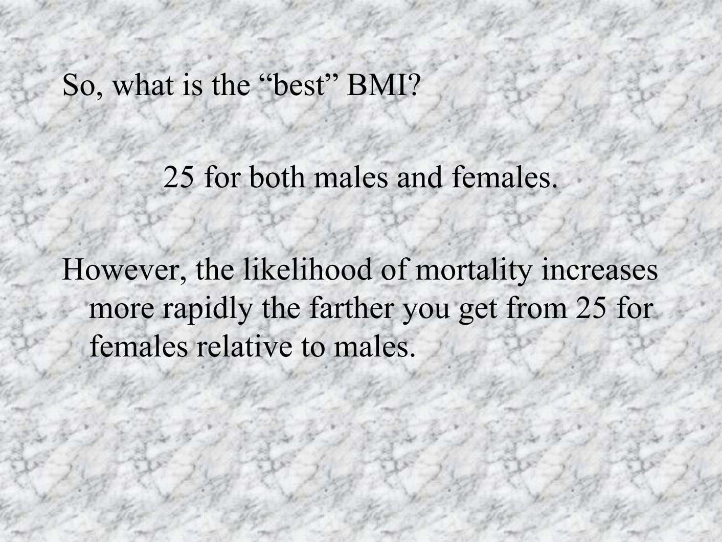 So, what is the ìbestî BMI? 25 for both males and females. However, the likelihood