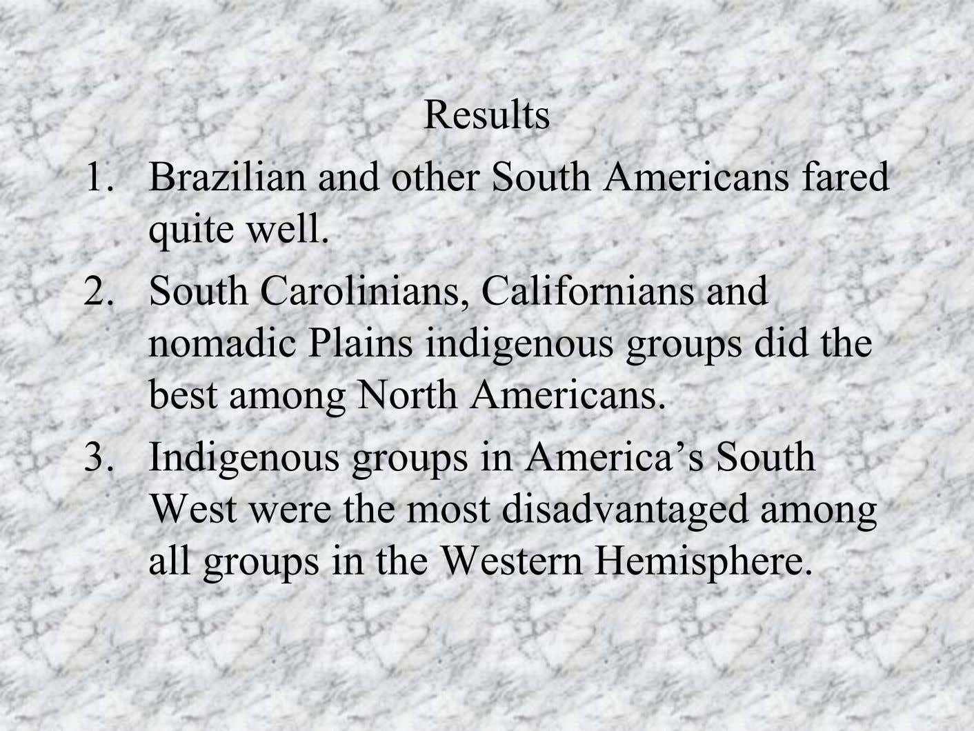Results 1. Brazilian and other South Americans fared quite well. 2. South Carolinians, Californians and