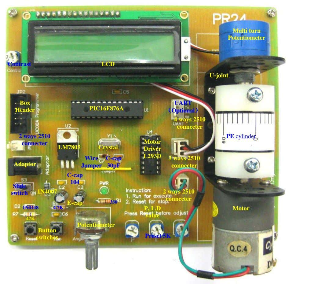 Multi turn Potentiometer Contrast LCD U-joint Box PIC16F876A Header UART (Optional) 4 ways 2510 connecter
